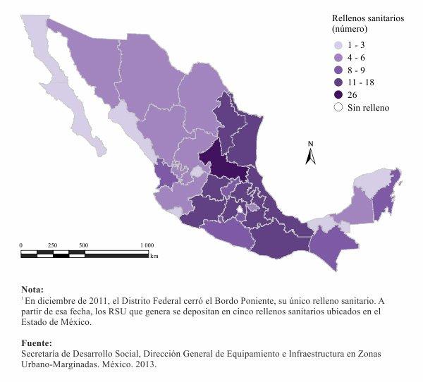 Rellenos sanitarios por estado en México.